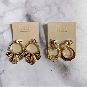 14th and Union Gold Tone Hoop Earrings - 2 pairs